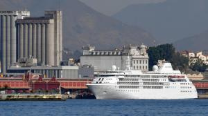 The U.S. men's and women's basketball teams will reportedly stay on the Silver Cloud cruise ship rather than the Athletes' Village during the Olympic Games that start in Rio de Janeiro on Friday. The cruise ship is shown here on Monday at Rio's Maua Pier